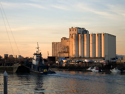 The Estuary and the ConAgra grain silos from Alameda